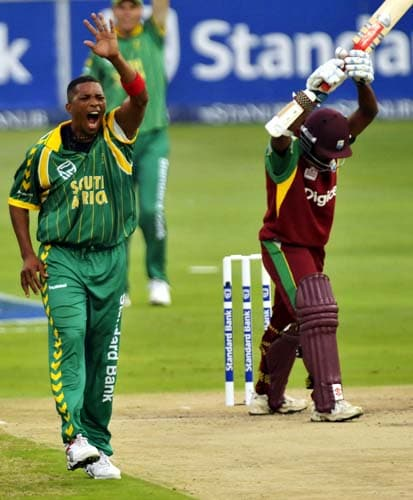 Makhaya Ntini, left, appeals the wicket of Shivnarine Chanderpaul, right during their first Pro 20 international in Johannesburg on Friday, January 18, 2008.