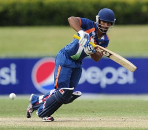 Vijay Zol of India tucks one away on the on side for runs. (Photo by Ian Hitchcock-ICC/Getty Images)