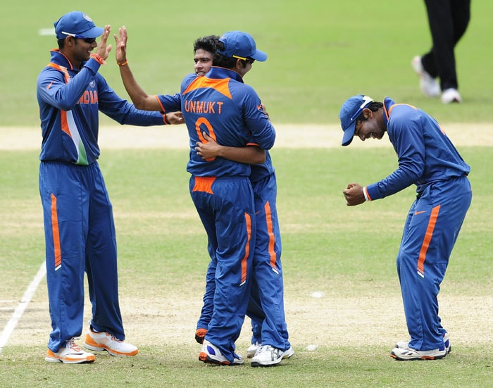 Ravikant Singh of India celebrates the wicket Umar Waheed of Pakistan during the ICC U19 Cricket World Cup 2012 Quarter Final match. (Photo by Ian Hitchcock-ICC/Getty Images)