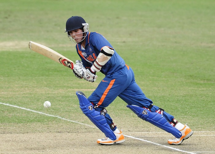 Smit Patel of India bats as India chase down Pakistan's total. (Photo by Ian Hitchcock-ICC/Getty Images)