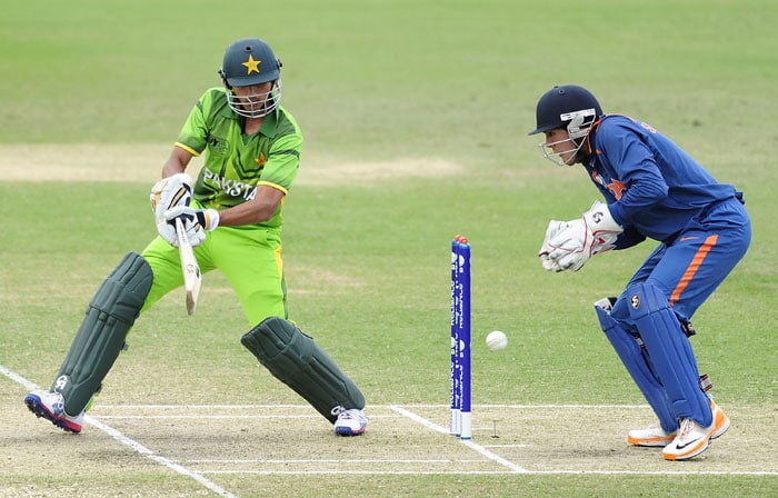 Syed Saad Ali of Pakistan plays a cut shot during the ICC U19 Cricket World Cup 2012 Quarter Final match against India. (Photo by Ian Hitchcock-ICC/Getty Images)