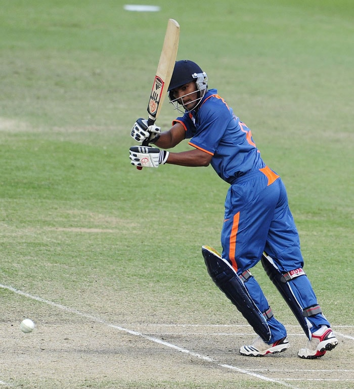 Sandeep Sharma looks to put on runs for India as they battle Pakistan for a place in the last four of the Under 19 World Cup. (Photo by Ian Hitchcock-ICC/Getty Images)