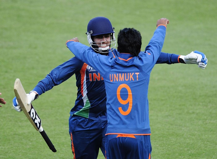 India scraped past Pakistan in a thrilling one wicket win to book their place in the last four of the Under 19 World Cup. A look at how the match unfolded. (Photo by Ian Hitchcock-ICC/Getty Images)