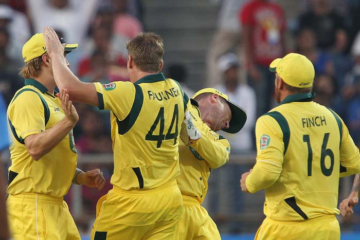 But the Aussie bowlers led by James Faulkner kept on chipping away at the wickets and India fell well short as they folded for 232.