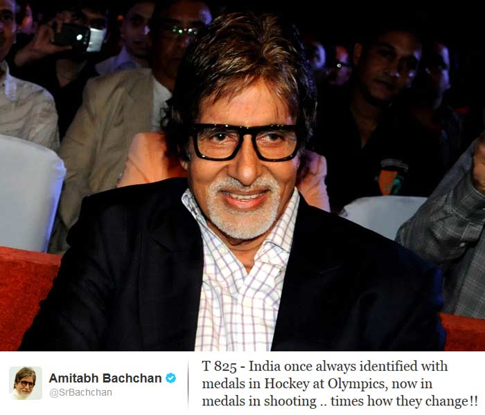 <b>Amitabh Bachchan</b>: T 825 - India once always identified with medals in Hockey at Olympics, now in medals in shooting .. times how they change !!
