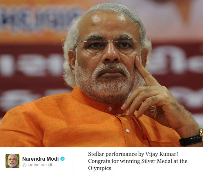 <b>Narendra Modi</b>: Stellar performance by Vijay Kumar! Congrats for winning Silver Medal at the Olympics.