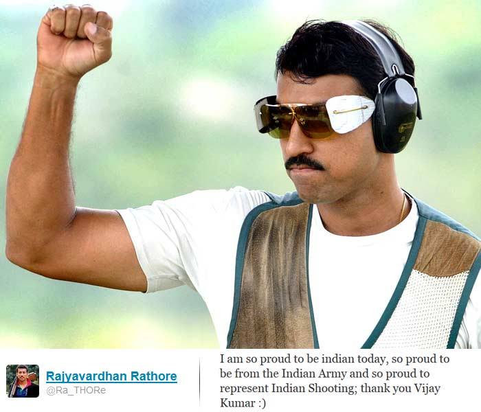 <b>Rajyavardhan Rathore</b>: I am so proud to be indian today, so proud to be from the Indian Army and so proud to represent Indian Shooting; thank you Vijay Kumar :)