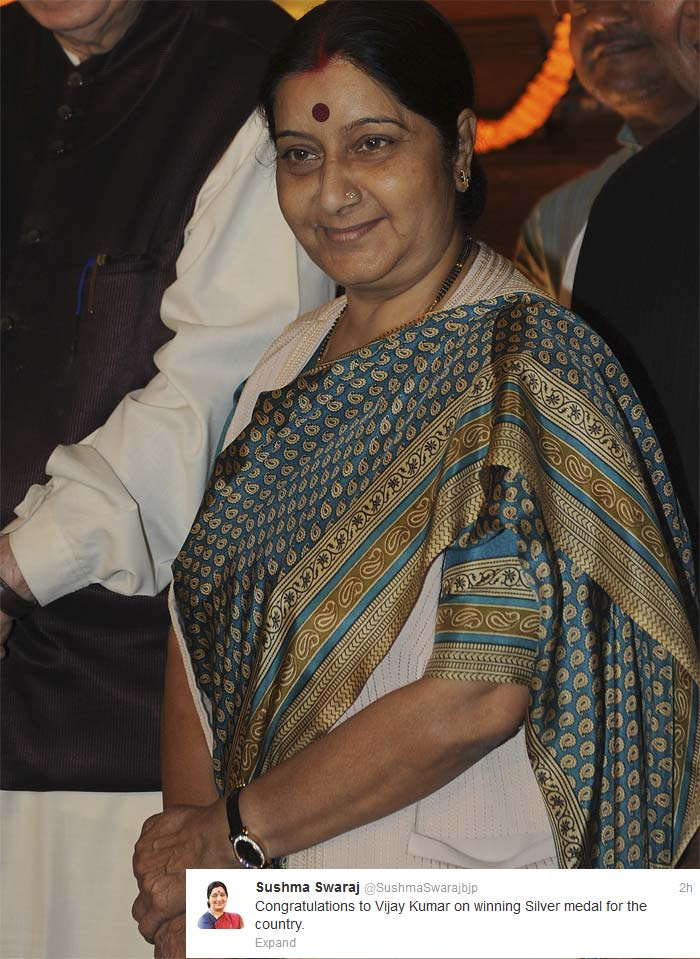 <b>Sushma Swaraj</b>: Congratulations to Vijay Kumar on winning Silver medal for the country.
