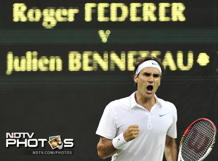 In what was perhaps his toughest match in recent years the six time Wimbledon found himself down two sets against Julien Benneteau losing the second one in a tie-breaker. What followed was Roger Federer at this best as he took the next two sets winning the fourth set in the tie-breaker to draw level.