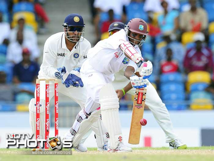 West Indies batsman Shivnarine Chanderpaul plays a shot during the fifth day of the Test match. (AFP Photo)