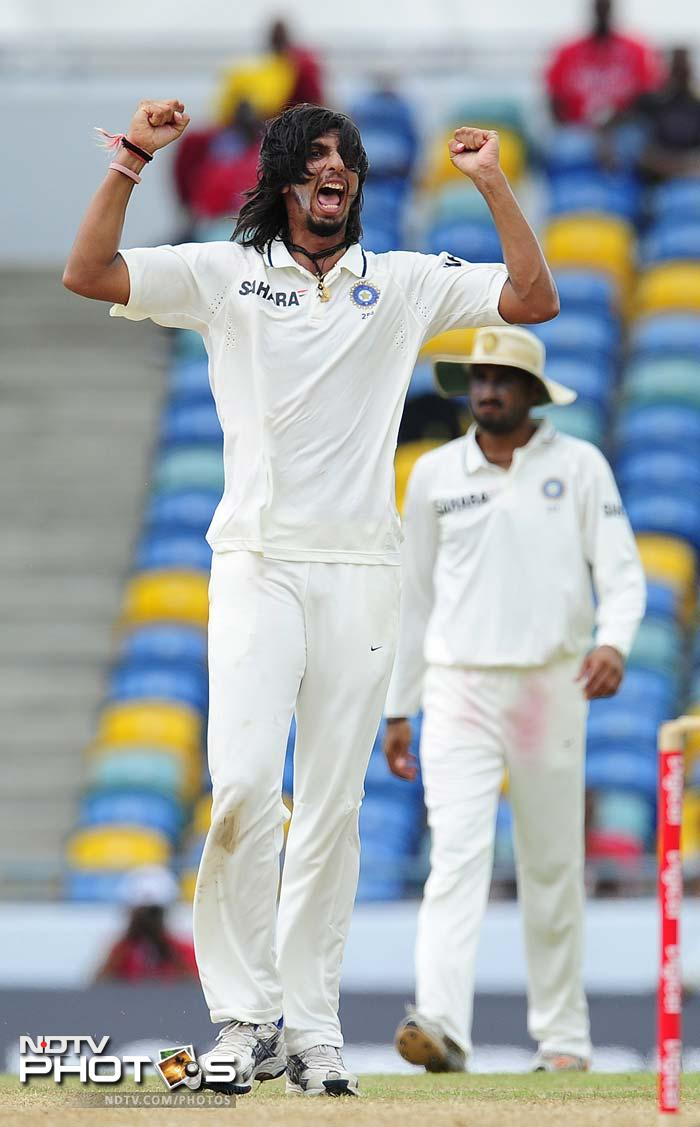 West Indies skipper Darren Sammy became Ishant's 100th Test victim and his 4th scalp of the inning on Day 3 of the Test match. (AFP Photo)