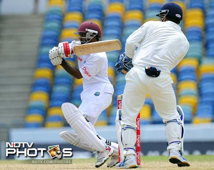 West Indies batsman Adrian Barath hits a boundary during the fifth day of the Test match. (AFP Photo)
