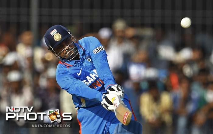 Sehwag slammed 32 boundaries (25 fours and seven sixes) - a new record in ODIs.
