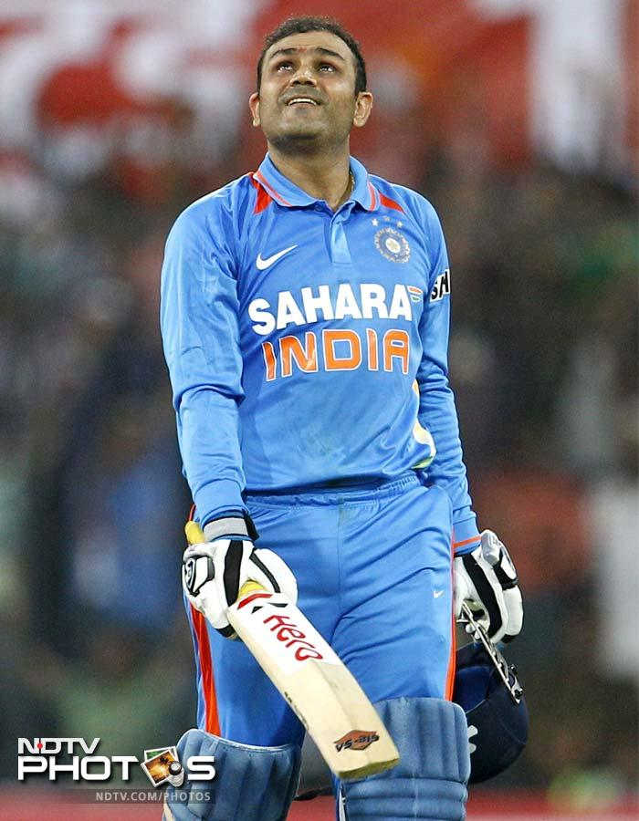 Sehwag became the second batsman after Sachin Tendulkar to post a double hundred in ODIs. Both the double hundreds have been registered in the state of Madhya Pradesh - Sehwag's at Indore and Sachin's at Gwalior.