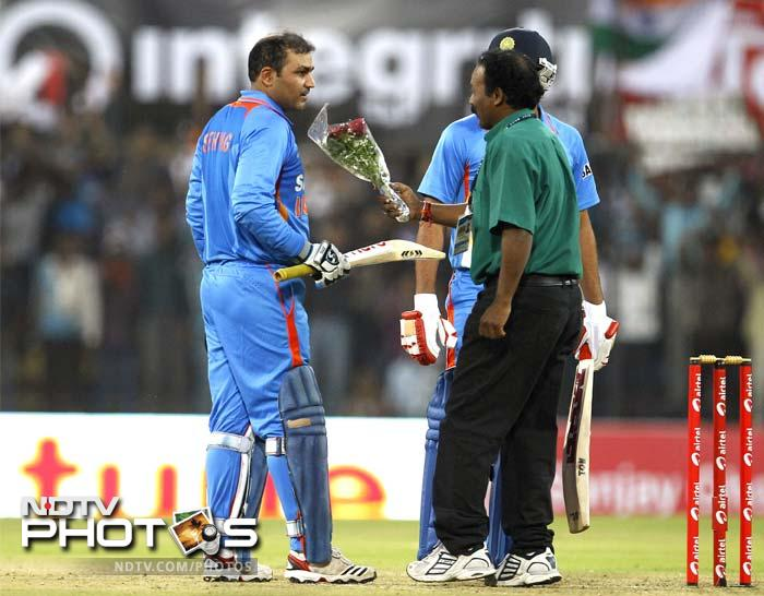 Virender Sehwag posted the highest individual innings in ODIs - 219 off 149 balls, surpassing Sachin Tendulkar's unbeaten 200 off 147 balls against South Africa at Gwalior on February 24, 2010.