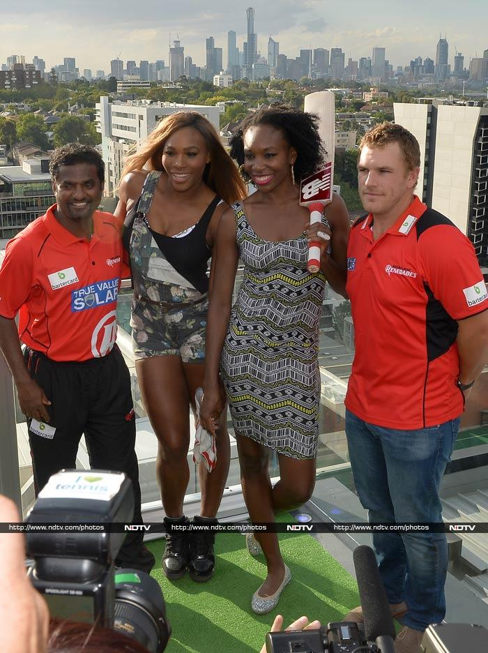 Not content in being the dominant force in international tennis, Serena Williams and sister Venus opted to get a taste of cricket. <br><br>To guide them, veteran Sri Lankan spinner Muttiah Muralitharan and Aussie power-hitter Aaron Finch registered their presence. <br><br>A look at the confluence of sporting cultures at a media event Melbourne. All images courtesy: AFP