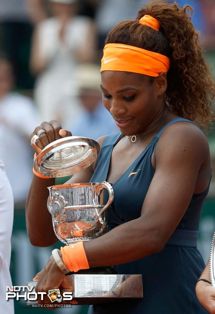 Serena comfortably served out the match, with three aces to conclude with, to gleefully banish 11 years of frustrations at Roland Garros.