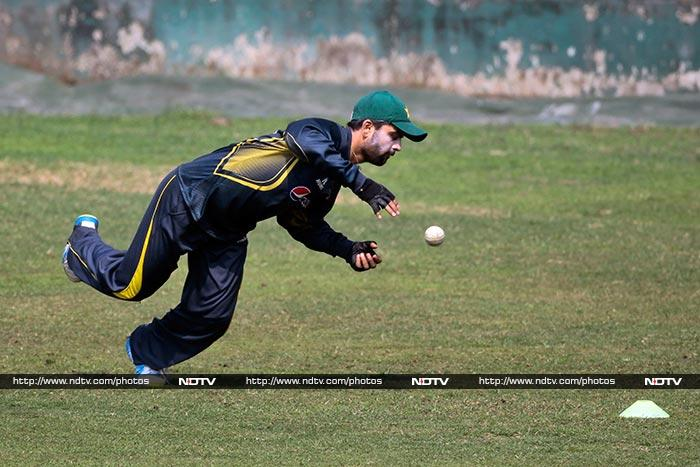 Shehzad practices fielding which is a very important factor in deciding matches.