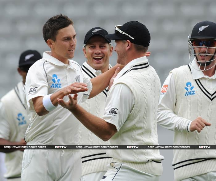 Trent Boult rocked India's top order, sending back Shikhar Dhawan and Cheteshwar pujara in the first over after New Zealand were 503 all out.