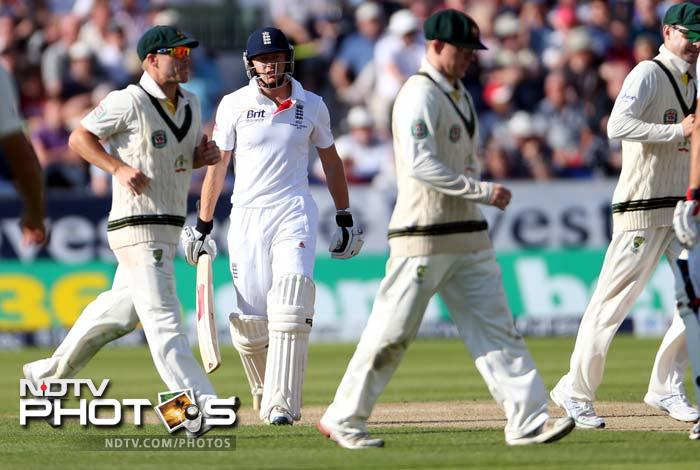 A batting collapse saw England lose 7 wickets for 65 runs to barely survive the day at 238/9.