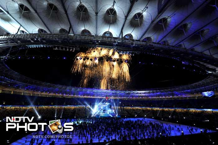 Fireworks add to the beauty of the newly reconstructed Olympiyskiy Stadium during the opening ceremony in Kiev.