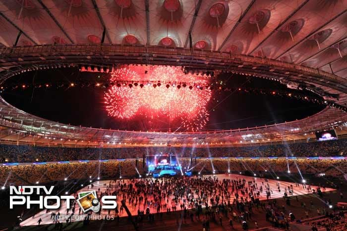 Fireworks light up the sky above the newly reconstructed Olympiyskiy Stadium during the opening ceremony in Kiev.