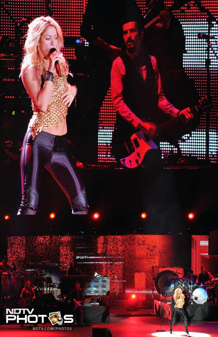 """Shakira, who also featured at the opening of the 2010 World Cup in South Africa, performed for 40 minutes, singing the official song from last year's football showpiece, """"Waka Waka""""."""
