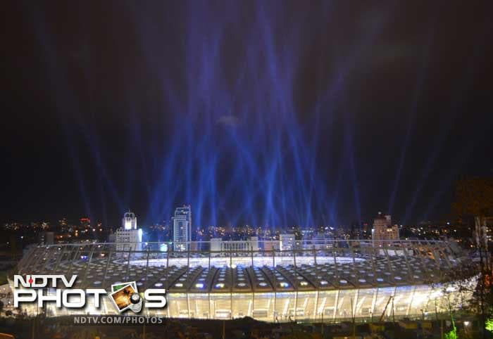View of the newly reconstructed Olympiyskiy Stadium from the outside, during the opening ceremony in Kiev.