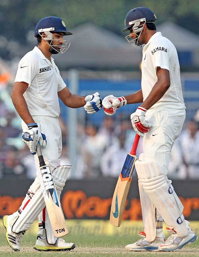 Putting on a record 28-run stand for the third wicket, R Ashwin and Rohit Sharma carried on from where they left off on Day 2, carting the West Indian bowlers around the park. (PTI image)
