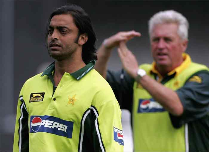 A year earlier, an Indian official assigned to Pakistan team - Anil Kaul - alleged that Akhtar had slapped coach Bob Woolmer following a fight over the music to be played in the team bus. Both Akhtar and Woolmer however denied it. (Getty Images)