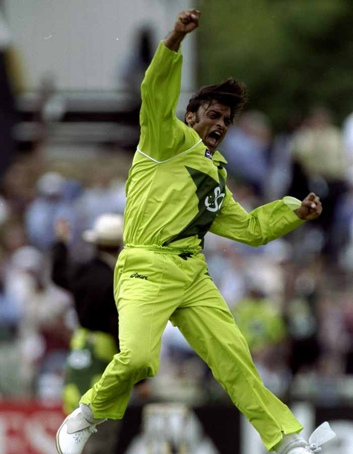 Born in Morgah in Rawalpindi, Akhtar's early claim to fame was his pace and the wicket of Sachin Tendulkar on the first delivery he bowled to the master-blaster in the Asian Test Championship match at Calcutta in 1999. He finished with eight wickets. (Getty Images)