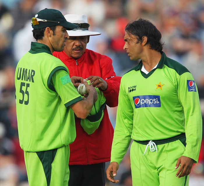 In 2003, Akhtar was found guilty of tampering with the ball in his teams match against Sri Lanka. He was banned but he landed himself with another ban when he was accused of abusing South Africa's Paul Adams. (Getty Images)
