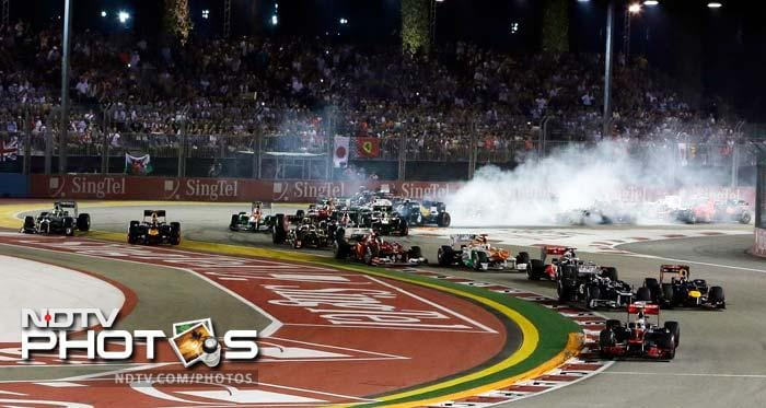 The night race at the Marina Bay is always an exciting fixture on the F1 calendar and the cut-throat battle on hand this time made it even more worthwhile. (Photos AP & AFP)