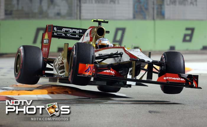 Narain Karthikeyan, seen airborne here, will start from the 23rd spot.