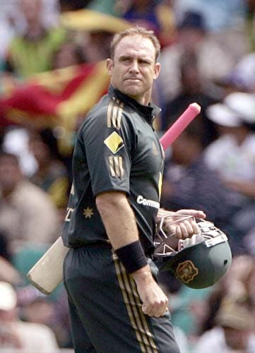 Matthew Hayden walks off after he was caught out against Sri Lanka at the Sydney Cricket Ground on Friday, February 8, 2008, during their one-day international cricket match.