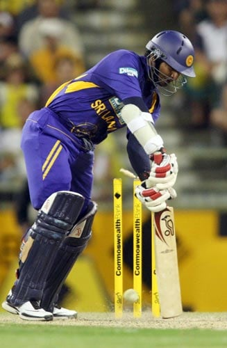 Sri Lankan batsman Kumar Sangakarra is bowled for 80 runs by Australia's Brett Lee during the one day match at the WACA ground in Perth on Friday February 16, 2008. Australia won the match by 63 runs.