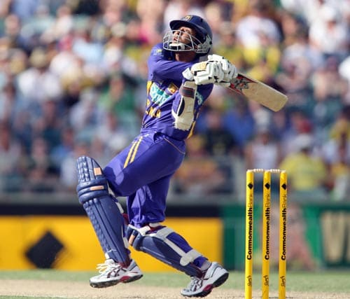 Sri Lankan batsman Tillakaratne Dilshan swipes at a ball during the one day match against Australia at the WACA ground in Perth on Friday, February 16, 2008.