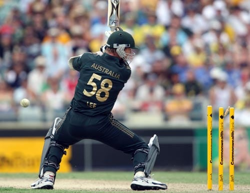 Australian batsman Brett Lee watches the bails fly after he was bowled during the one day match between Australia and Sri Lanka at the WACA ground in Perth on Friday, February 16, 2008.
