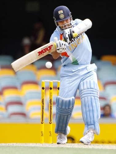 Sachin Tendulkar in action during their One-Day cricket international against Sri Lanka in Brisbane on Tuesday, February 5, 2008.