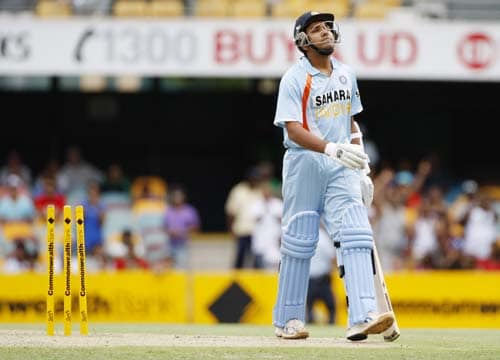 Rohit Sharma reacts after he was dismissed during their One-Day cricket international against Sri Lanka in Brisbane on Tuesday, February 5, 2008.