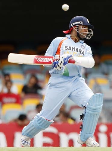 Sehwag ducks away from a bouncer during their One-Day cricket international against Sri Lanka in Brisbane on Tuesday, February 5, 2008.