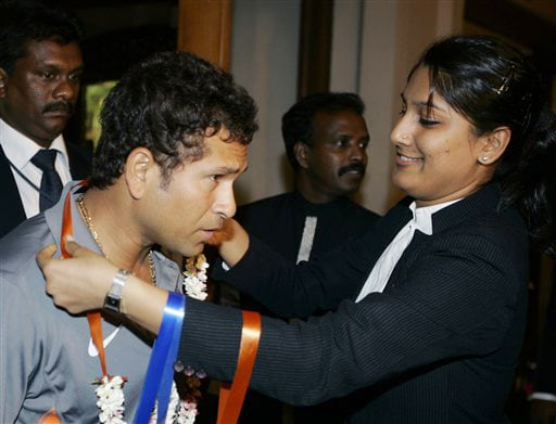 Sachin Tendulkar arrives at a hotel in Colombo on Monday. (AP Photo)