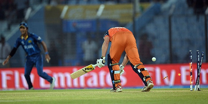 Sri Lanka annihilated The Netherlands by 9 wickets in a match that saw only 15 overs in total. This was also the Lankans' second win on the trot in the Super-10 stage. <br><br>All images courtesy AFP and AP.