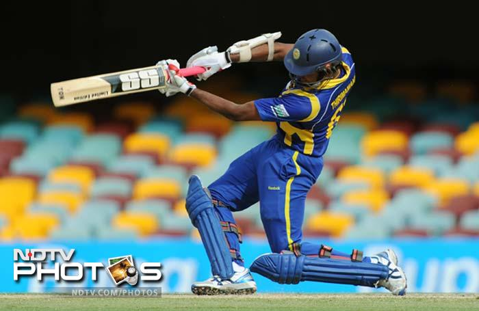 Sri Lanka's Lahiru Thirimamanna drives the ball during the one day international cricket match against India in Brisbane.