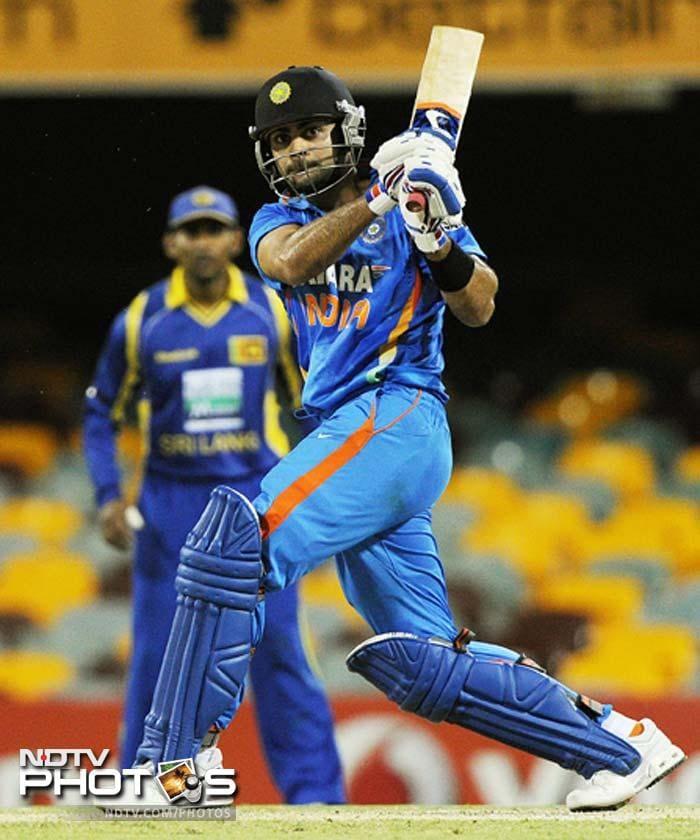 India's Virat Kohli plays the ball during the one day international cricket match against Sri Lanka in Brisbane.