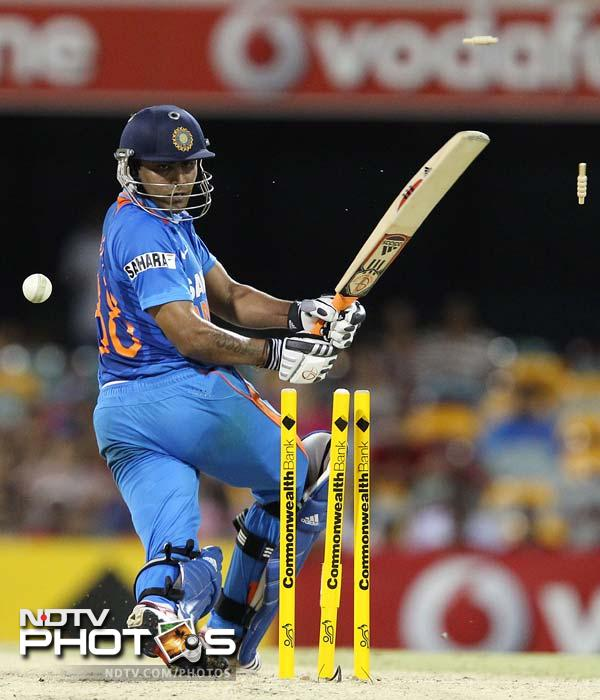 India's Ravindra Jadeja is bowled out during the One Day International cricket match against Sri Lanka in Brisbane.