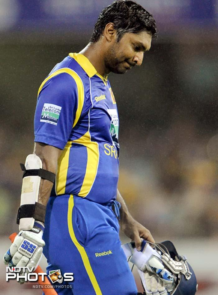 Dinsesh Chandimal had already left on 14 and Sangakkara (in pic) followed without building on his 42.