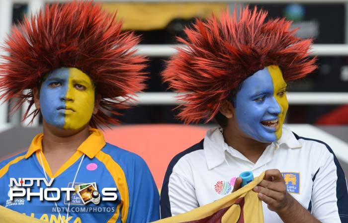 Sri Lankan fans get ready for the start of the match.