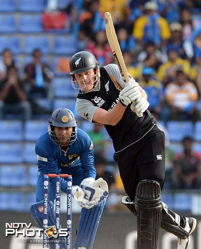 New Zealand's Martin Guptill in action after his side won the toss and opted to bat, in Pallekele.