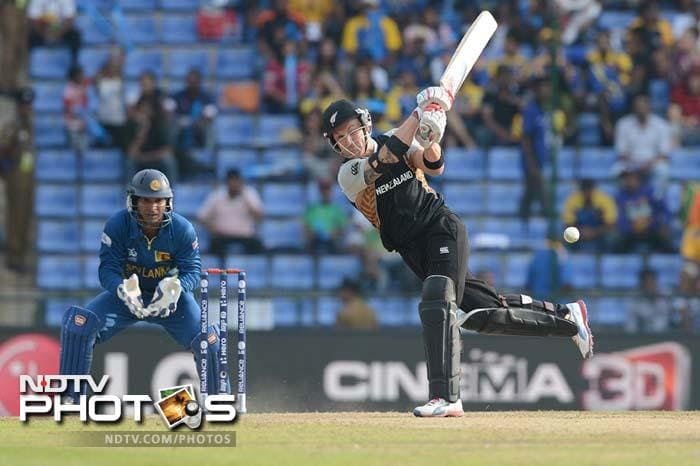 Birthday-boy Brendon McCullum tries to lash out against the slower bowlers.